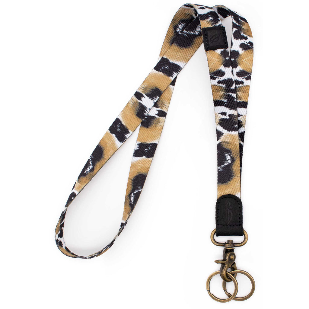 Neck lanyard black brown colored with leopard pattern black leather hardware vintage metal clasp with 2 key rings