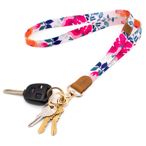 Multicolor floral neck lanyard pink orange blue colors with keys and car key