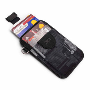 Black credit card holder wallet pull tab function with credit cards