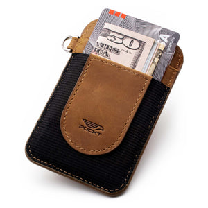 Slim tan black credit card holder displaying money credit cards on the front pocket