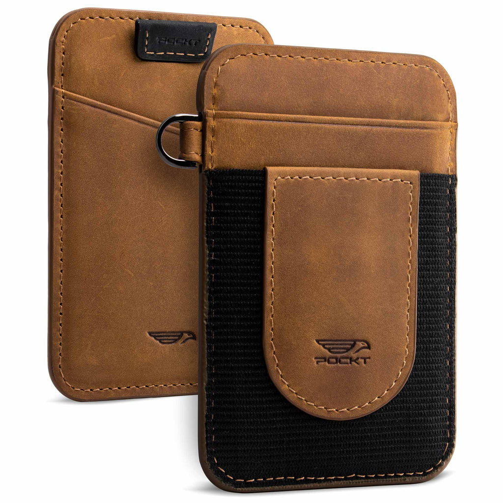 Genuine leather elastic wallet for men tan brown vertical slim design view front and back
