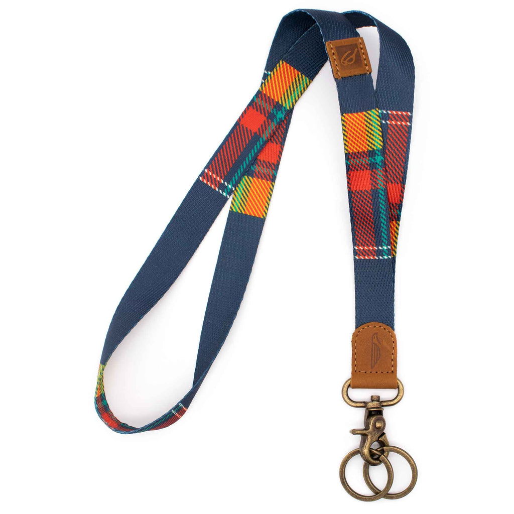 Neck lanyard navy with red yellow plaid pattern brown leather hardware vintage metal clasp with 2 key rings