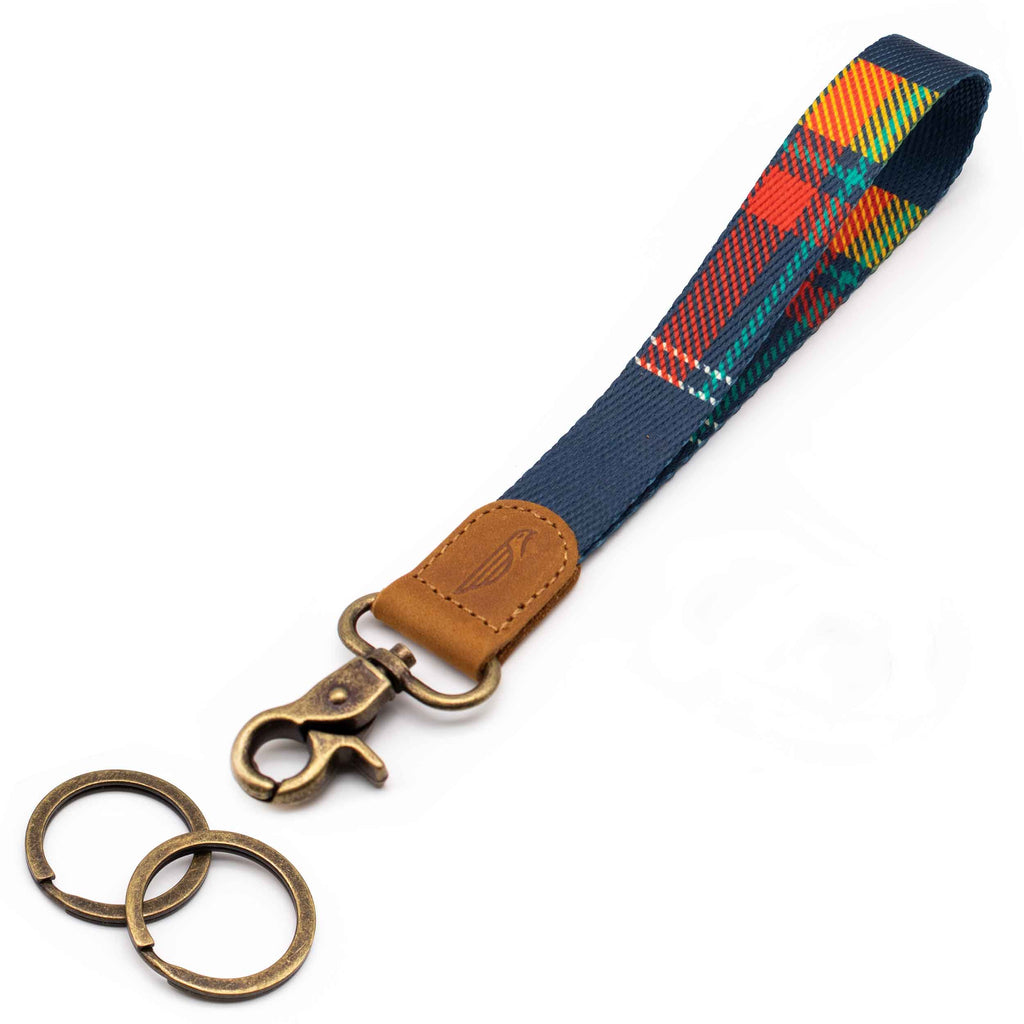 Wrist lanyard navy red yellow plaid design brown leather hardware vintage metal clasp with 2 key rings
