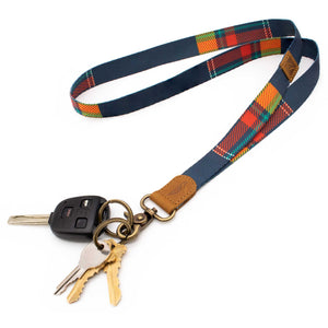 Plaid patterned neck lanyard navy red orange colors with keys and car key
