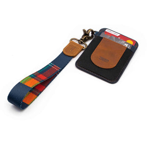 Navy red yellow plaid patterned wrist Lanyard with brown navy slim keychain wallet