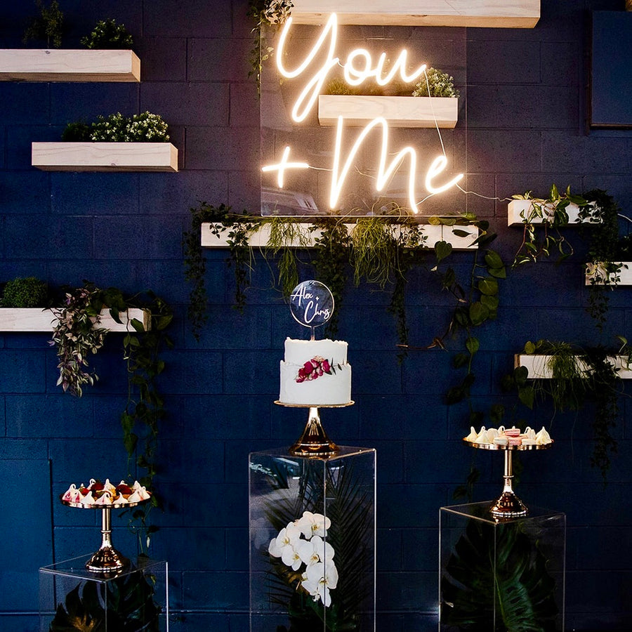 You & Me wedding neon sign in warm white
