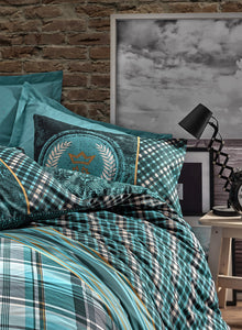 Black Green Stripes Duvet Cover Set | Teal