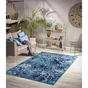 Homeward Collection Non-Skid Area Rug | 5X7 Ft. | Navy - Turquoise