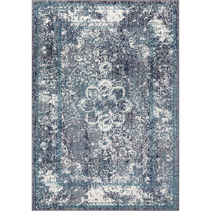 Homeward Collection Non-Skid Area Rug | 5X7 Ft. | Navy - White