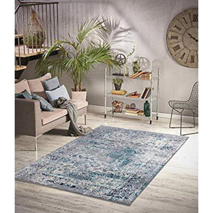 Homeward Collection Non-Skid Area Rug | 5X7 Ft. | Turquoise - Gray