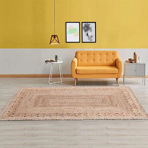 Jute Natural Trimmed Area Rug | 150x240 cm (5'x8') Diameter | Brown