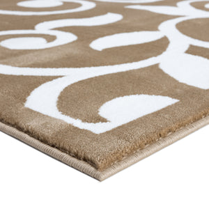 Sussexhome Beatrice Perfect Soft Area Rugs | Leaves - Beige/White - 5F.X7F.
