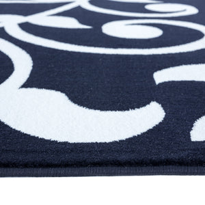 Sussexhome Beatrice Perfect Soft Area Rugs | Leaves - Navy/White - 5F.X7F.