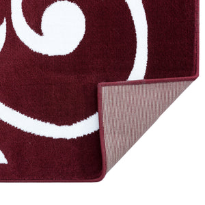 Sussexhome Beatrice Perfect Soft Area Rugs | Leaves - Red/White - 5F.X7F.