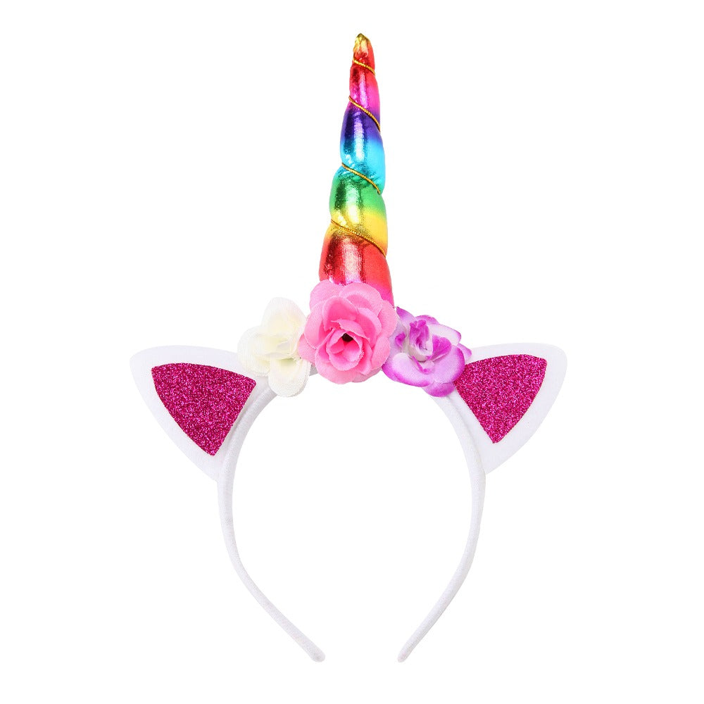 Unicorn Headband Cute Lovely Girls Chiffon Flowers Hairband For Kids Cat  Ears Unicorn Horn Party Baby 061f254f1c1