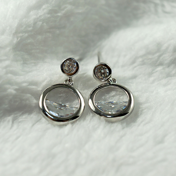 Semi-Circular Zircon Earrings