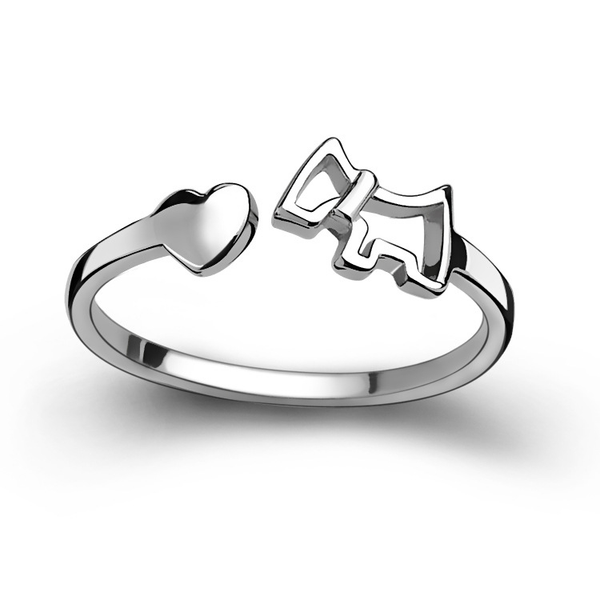 Dog and Heart Ring