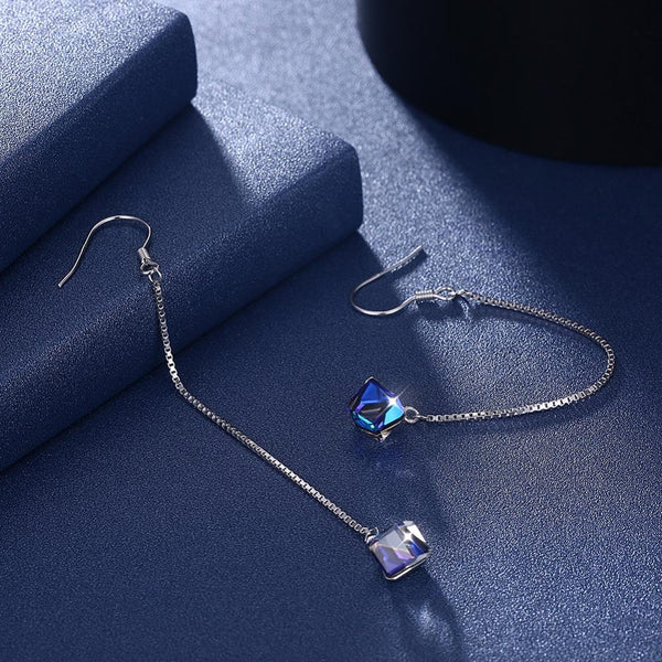 Crystal Cube Drop Earrings
