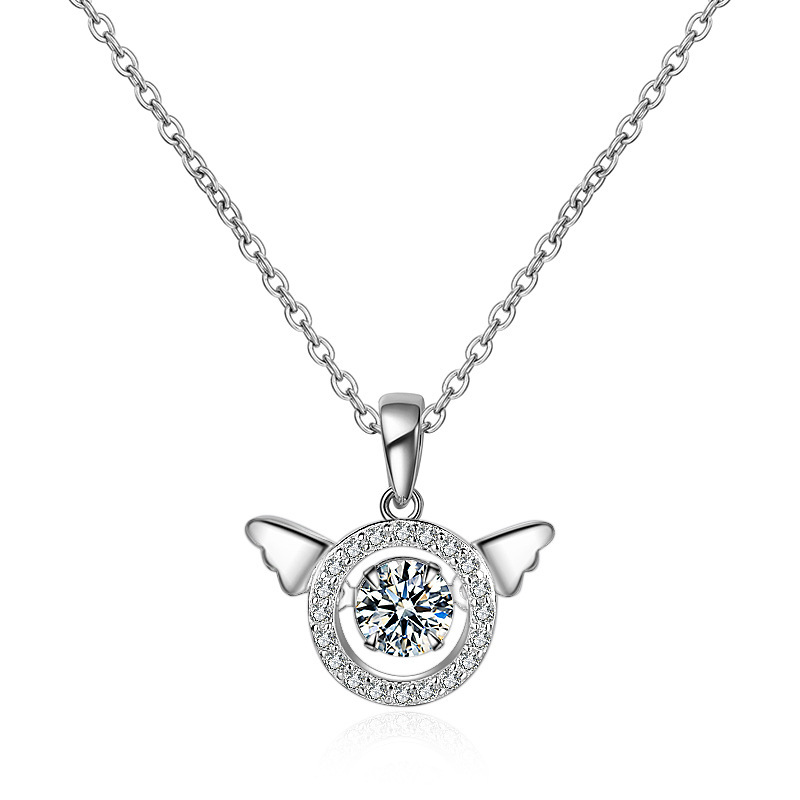 Crown or Wings Crystal Pendant Necklace