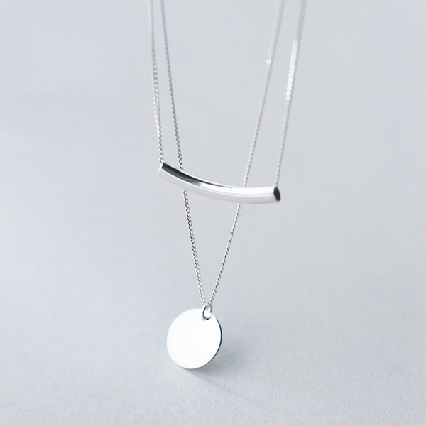 Silver Layered Coin Necklace