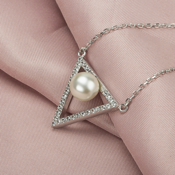 Triangle and Pearl Necklace