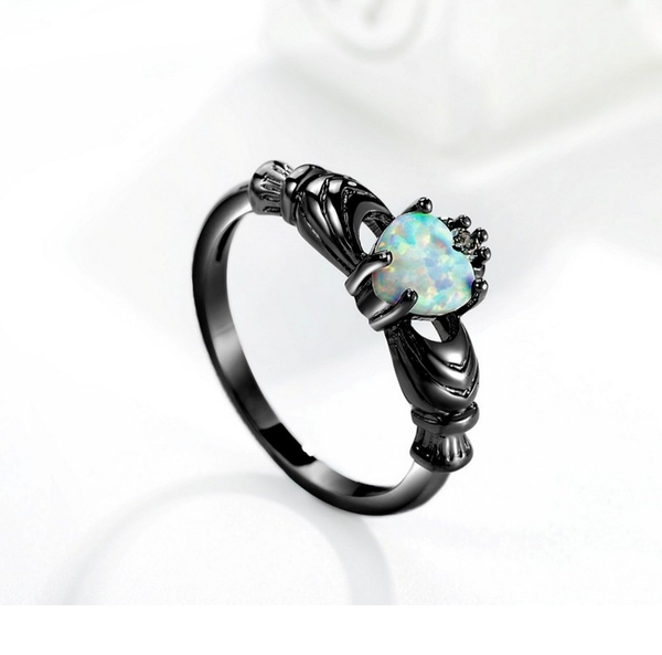 Opal Claddagh Ring