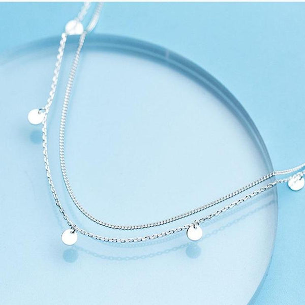 Silver Double-Layer Coin Necklace