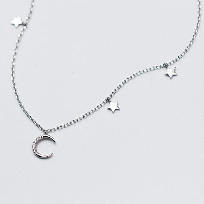 Moon and Stars Short Necklace