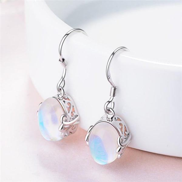 Moon Stone Drop Earrings
