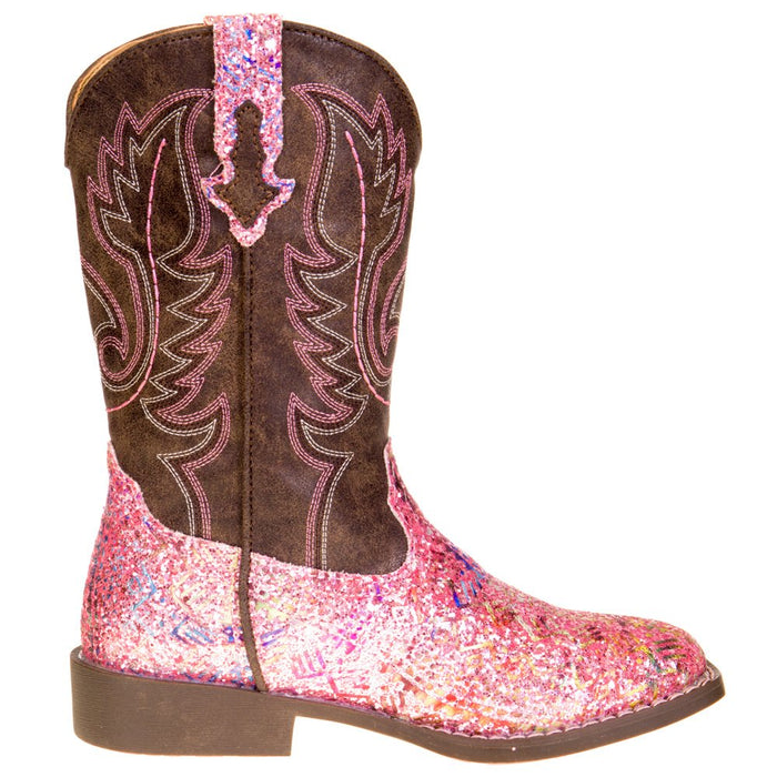 Girls Roper Pink Glitter Boot