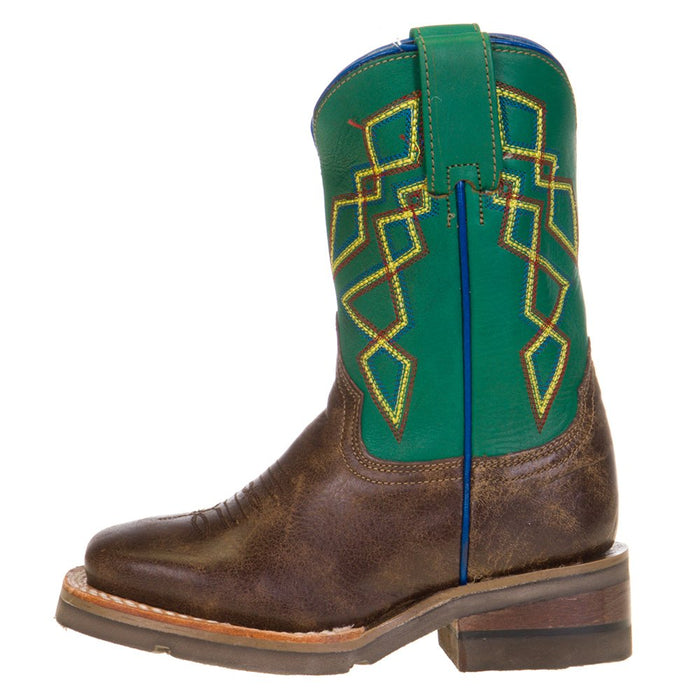 Kids Roper Green Pattern Top Square Toe Boot