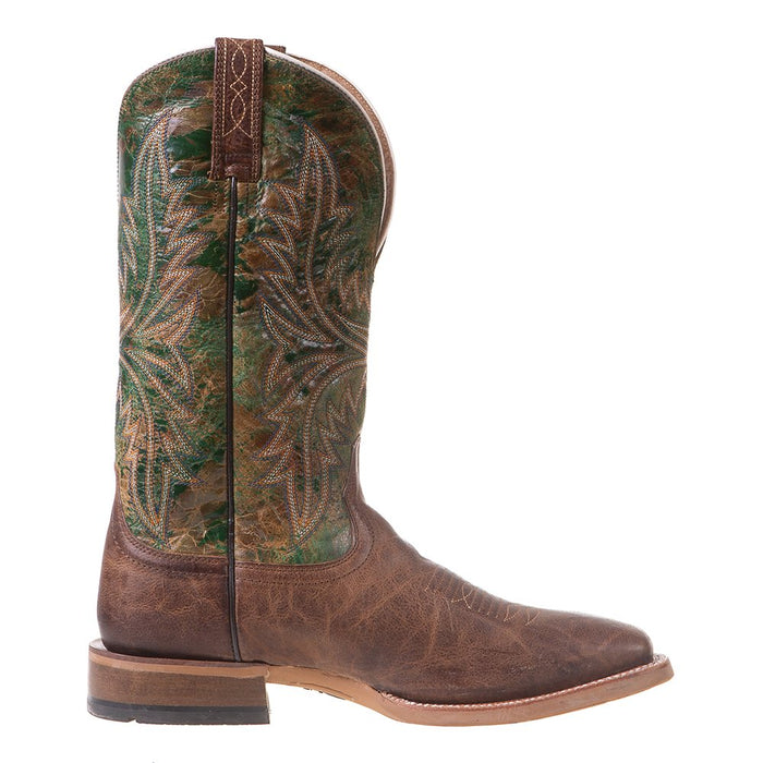 Men's Ariat Cowhand Tobacco Toffee 13in. Moss Green Top Square Toe Cowboy Boots