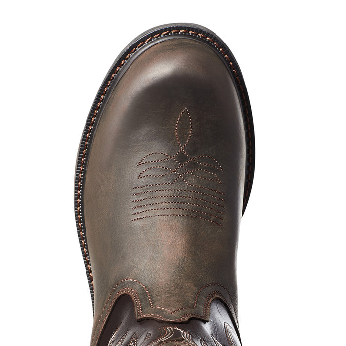 MEN`S ARIAT GROUNDWORK PULL-ON H2O DARK BROWN 11` BITTER BROWN TOP SOFT TOE