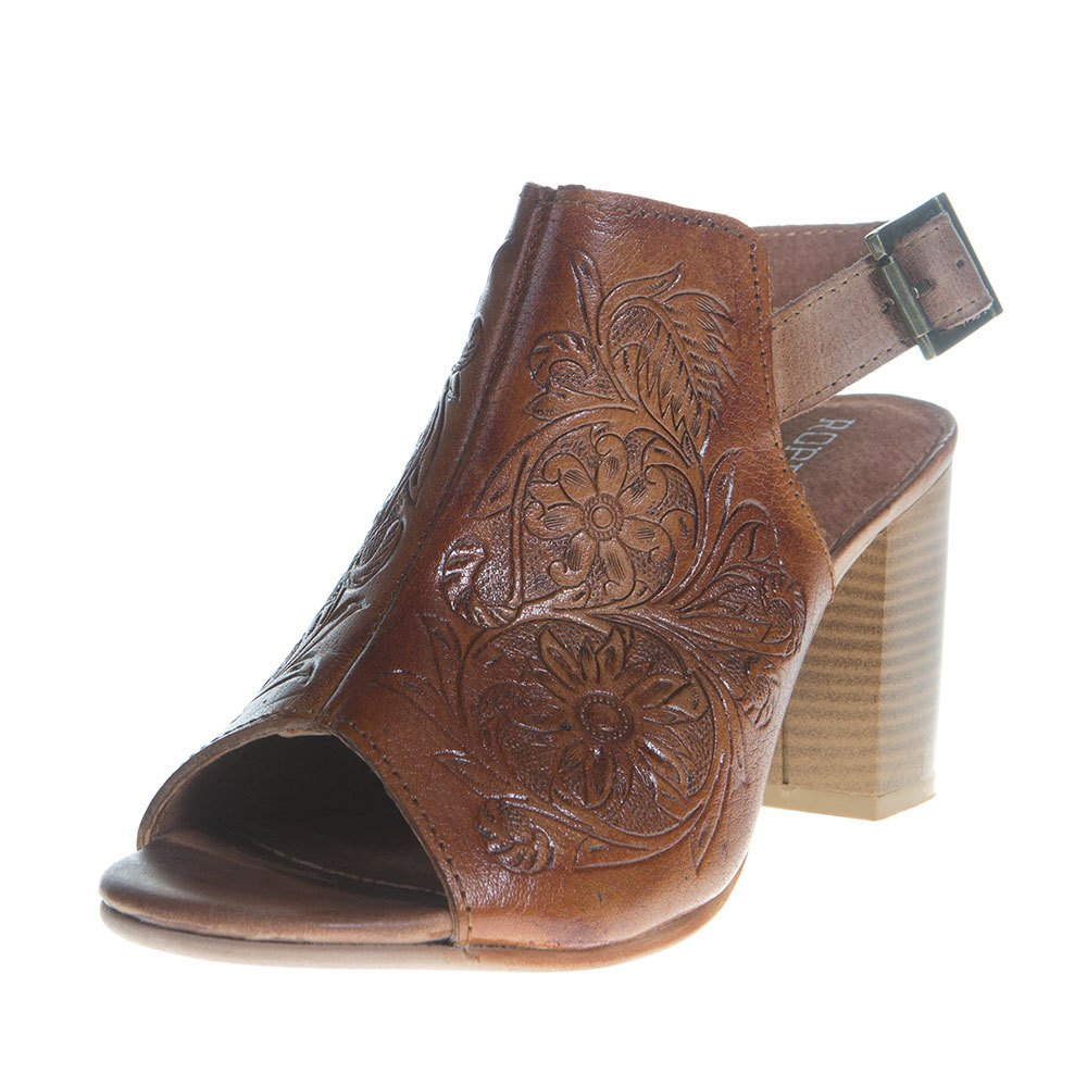 Women's Roper Tan Floral Tooled Leather Heel