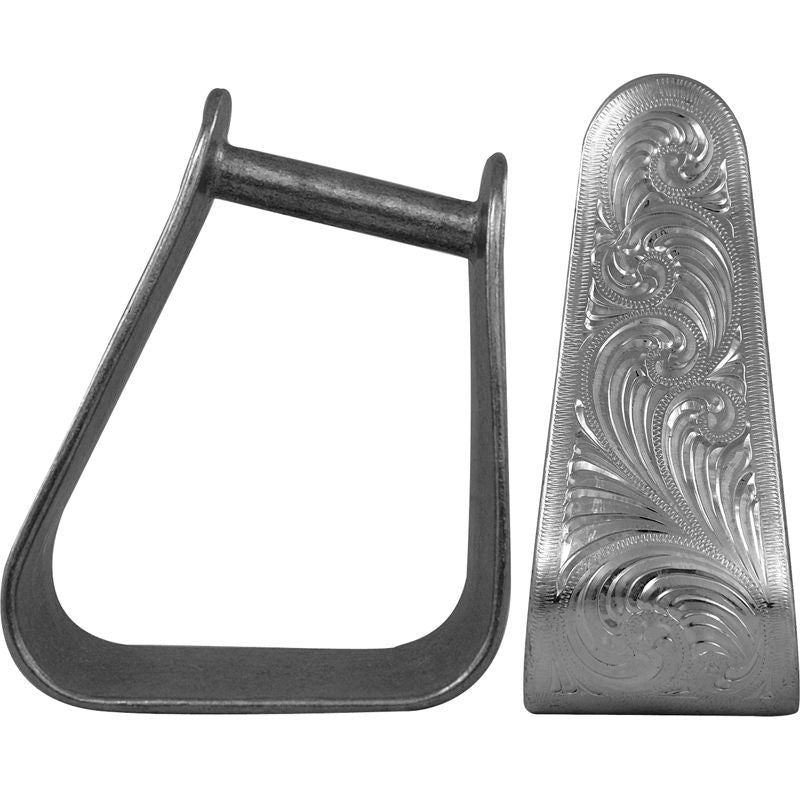 NRS Angled Engraved 3in Roper Stirrup