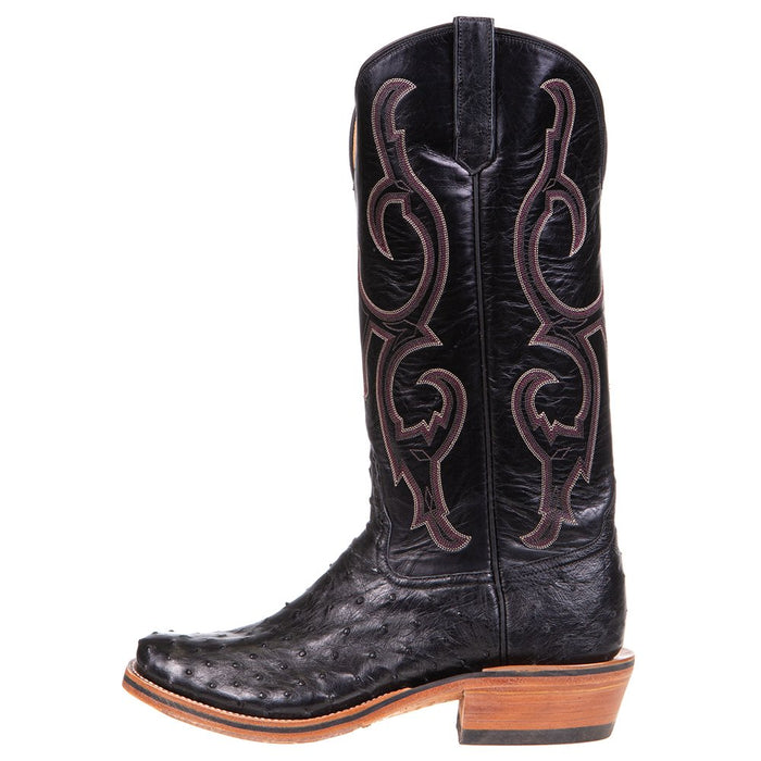 Men's Ride Ready Black Full Quill Ostrich 15in. Black Calf Top Cowboy Boot