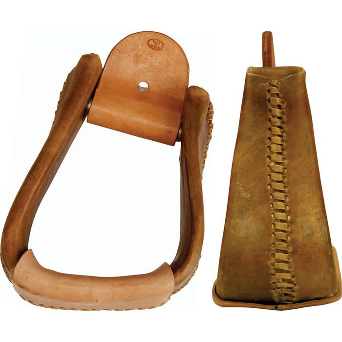 Rawhide Covered 4in. Angled Roper Stirrup