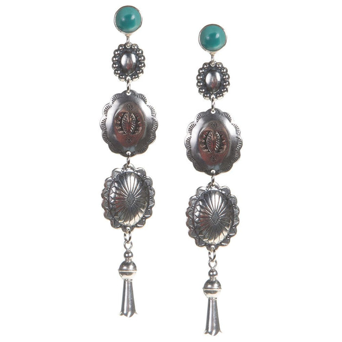 Turquoise Stud With 3 Concho Dangle Earrings