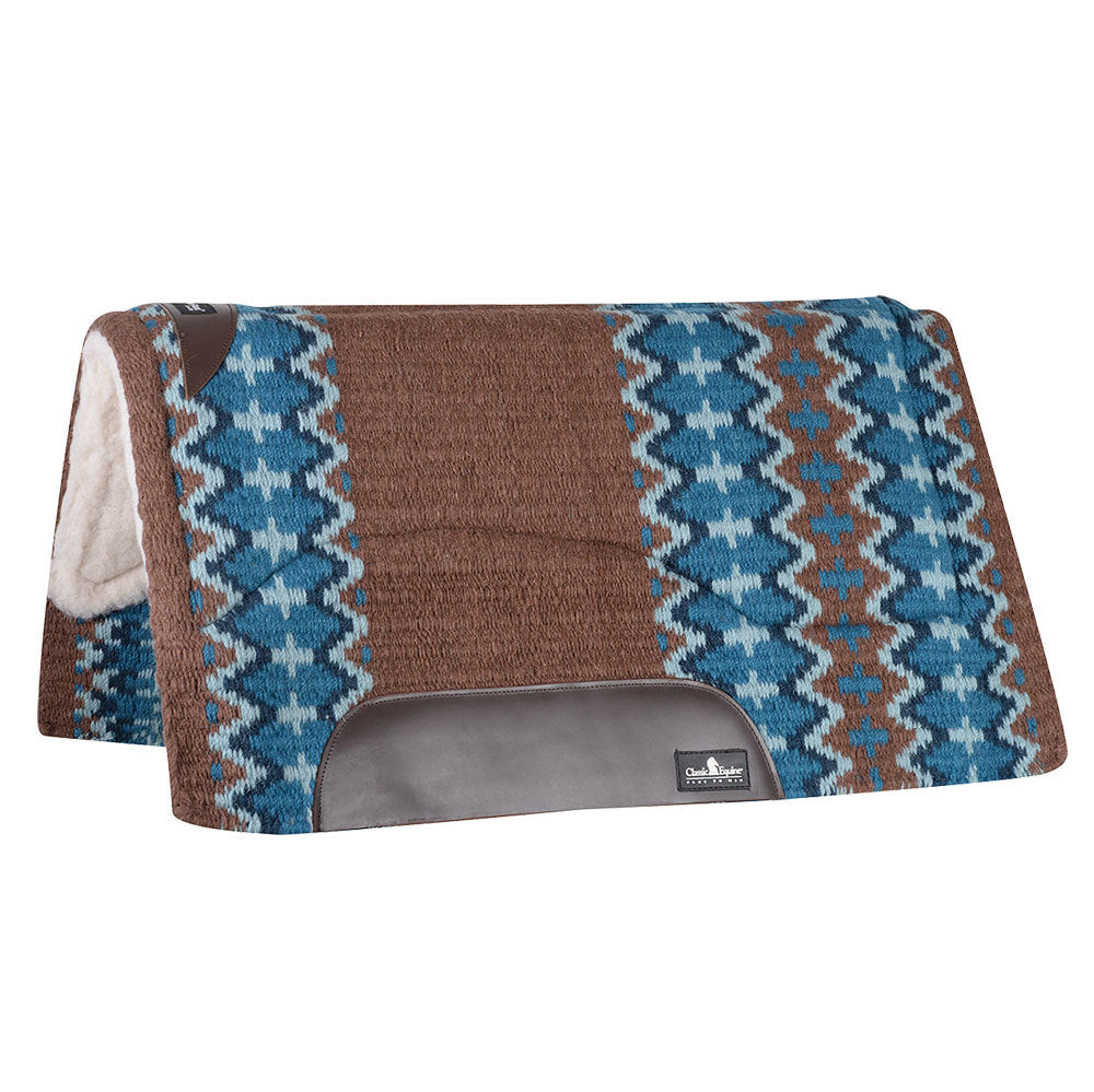 Classic Equine SensorFlex Wool Top 32 x 34 Saddle Pad Brown/Navy