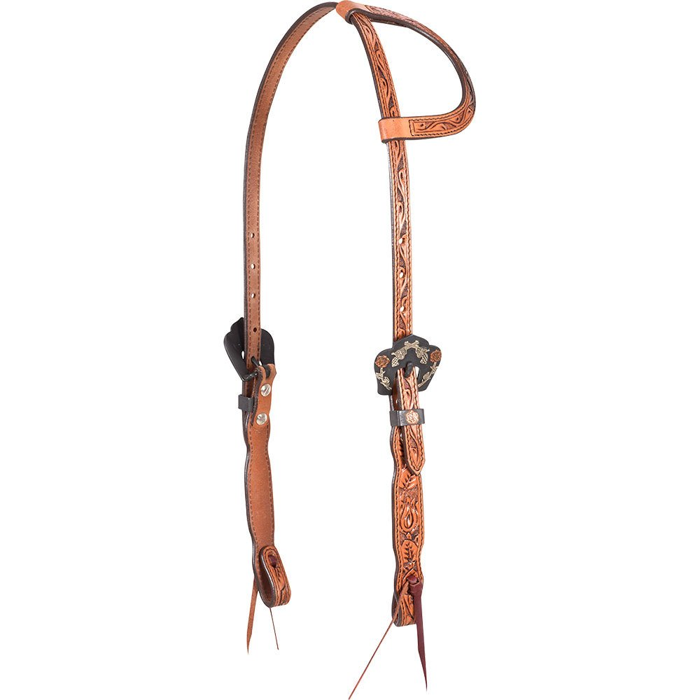 Natural Single Ear Headstall with Guns and Roses Buckles