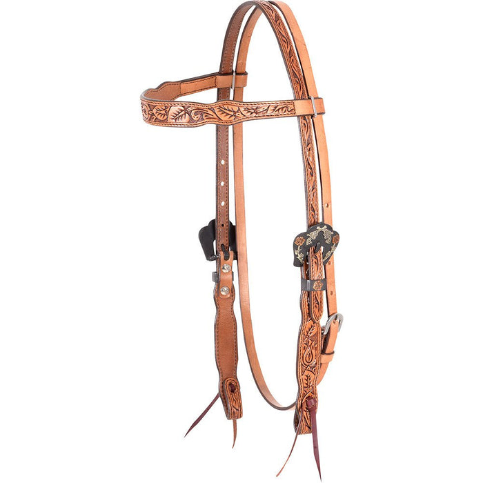 Natural Guns and Roses Browband Headstall