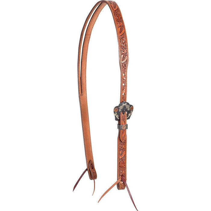 Natural Slip Ear Headstall with Guns and Roses Buckles