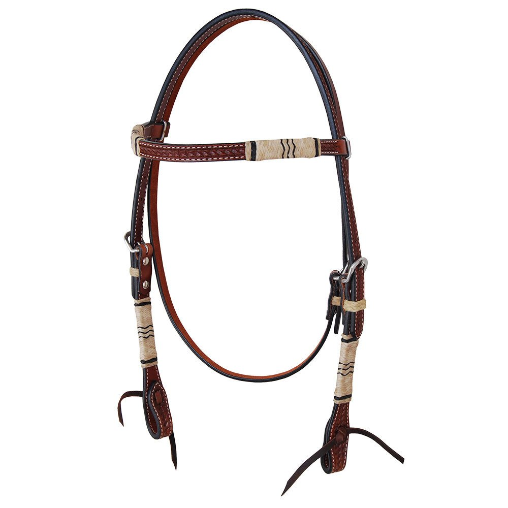 Oxbow Rawhide Braided Tooled Browband Headstall