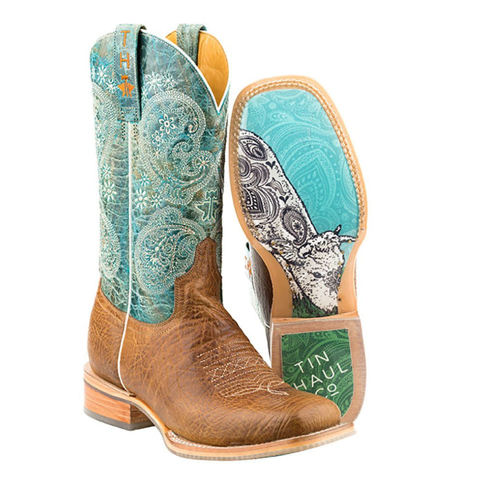 Womens Yee-Haw Paisley Print Cowgirl Boots