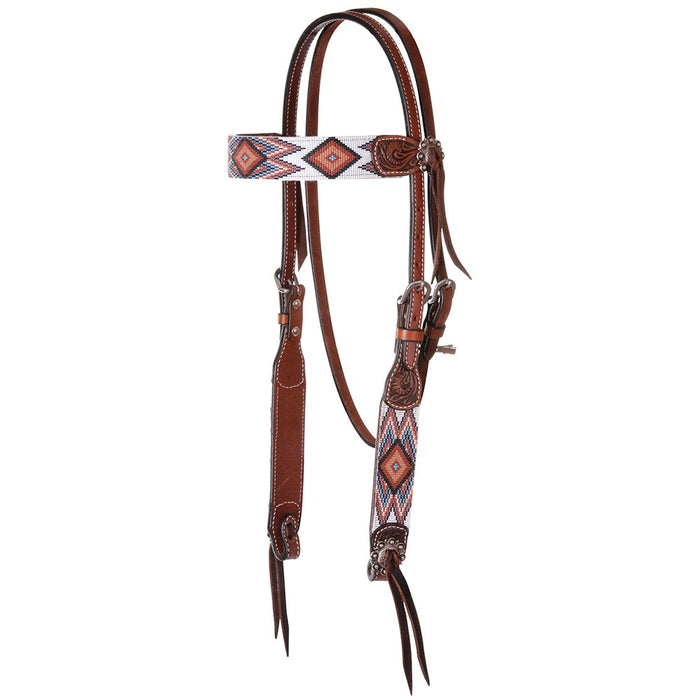 Circle Y Headstall with Brown and White Beading