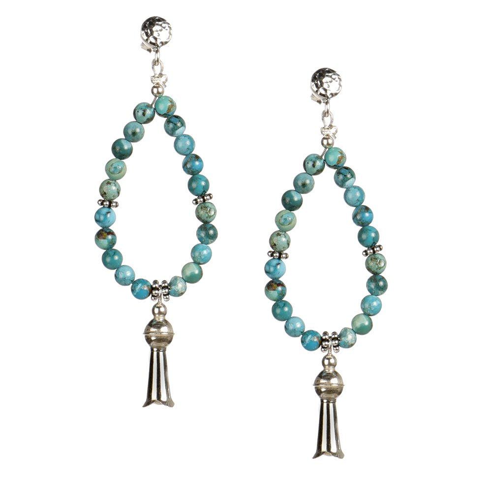 Paige Wallace SS Squash Flower Turquoise Loop Earrings