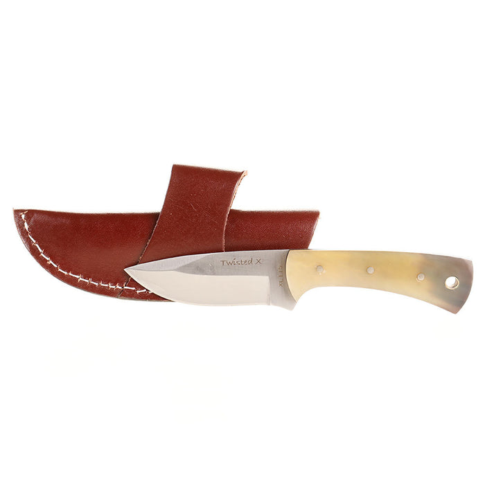 Twisted X Horn Grip Knife with Sheath