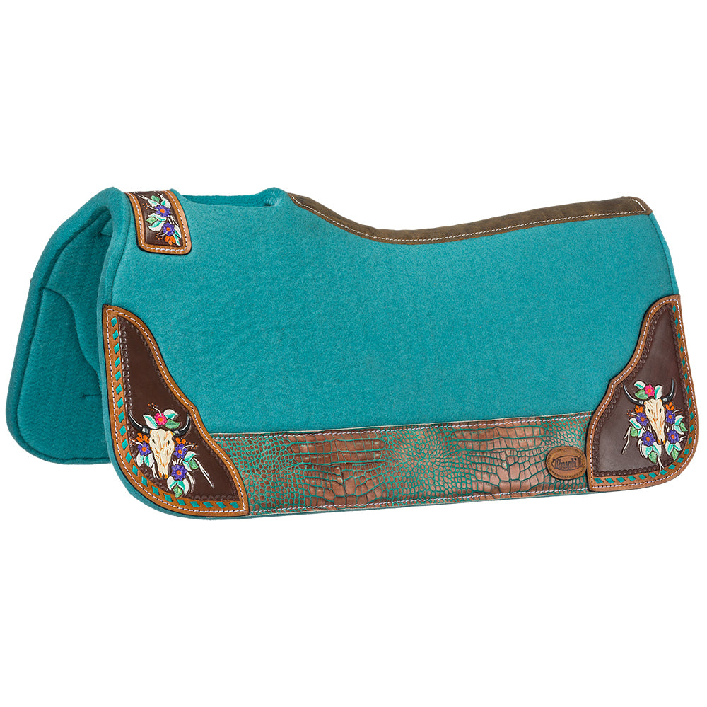 Tough-1 Hand Painted Steer Skull Saddle Pad