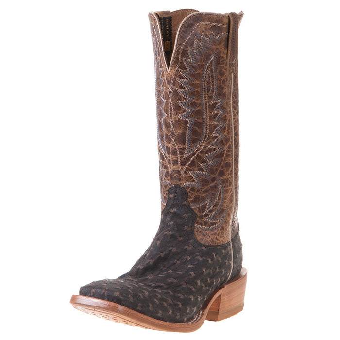 "Men's Ariat Showman Mocha Full Quill Ostrich 13"" Dusted Wheat Cowboy Boot"