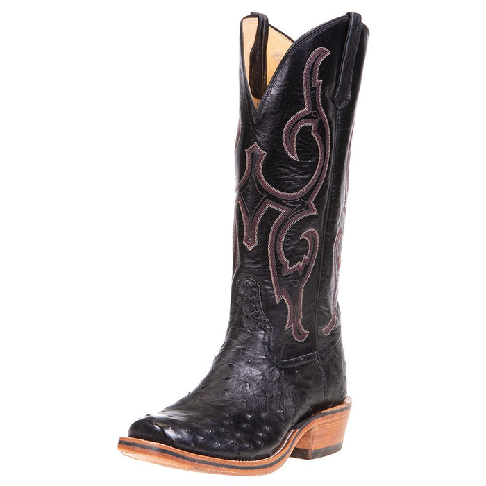 "Men's Ride Ready Black Full Quill Ostrich 15"" Black Calf Top Cowboy Boot"